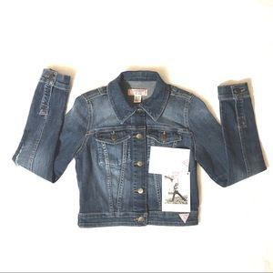 GUESS Denim Jacket Cropped Classic Blue Jean Sz XS